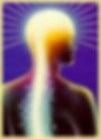 A picture of a man with a his head in a bright light and vibrations flowing out of his spine