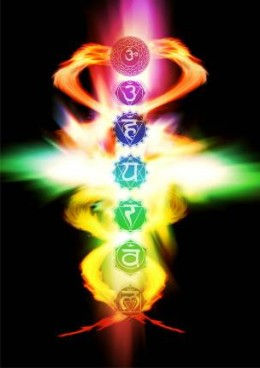 a picture showing the chakras in an energetic way with the sanskrit symbols of each chakra.