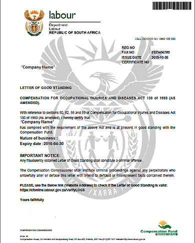 COIDASSIST Letter of Goodstanding