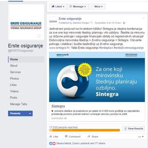 Facebook promocija za Erste bank osiguranje