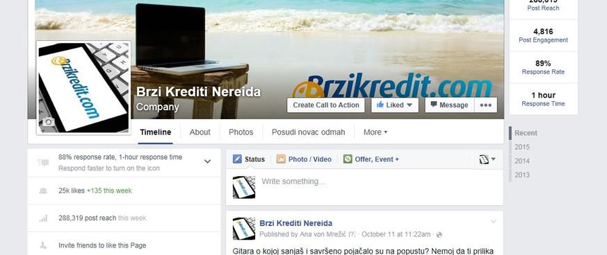 Facebook marketing Ferratum Bank