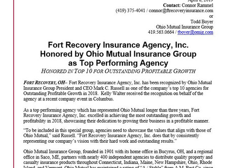Fort Recovery Insurance Agency, Inc.Honored by Ohio Mutual Insurance Group as Top Performing Agency
