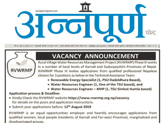 Vacancy Announcement published in Annapurna post dated on 29.07.2019