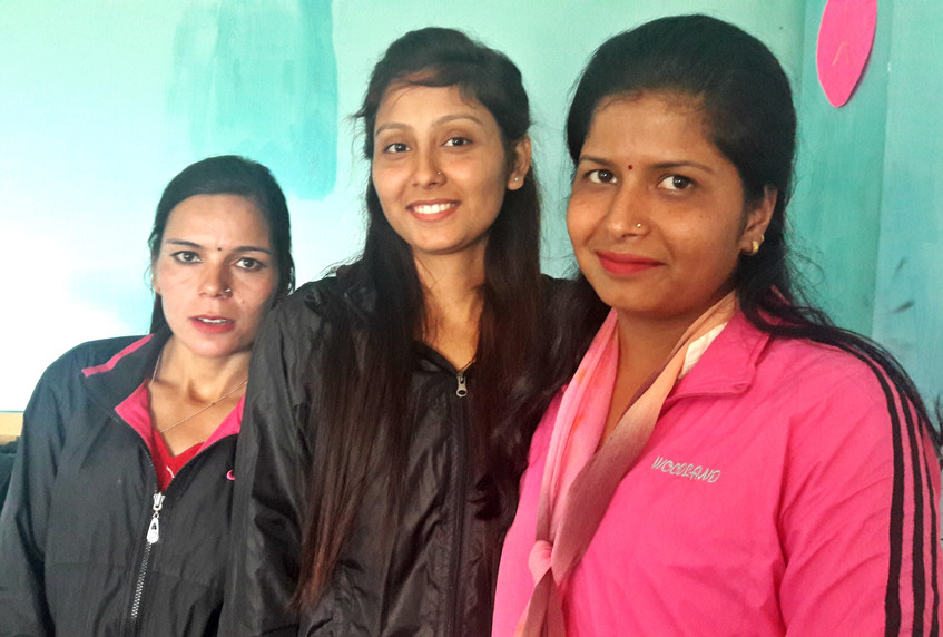 From left to right: Saraswati Kumari Joshi, Aayisha Khati and Ghita Dhami