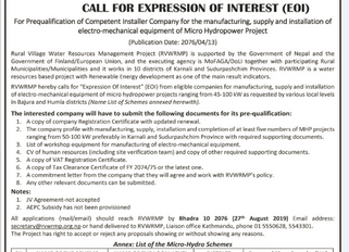 Notice to submit Expression of Interest(EoI) to supply electro-mechanical component of micro-hydro s