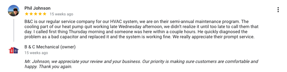 Phil Johnson used B&C Mechanical Annual Maintenance Plan to take care of his HVAC System
