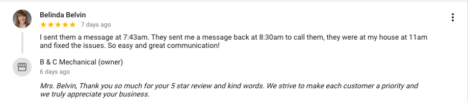 Completely 5 Star Satisfied customer of B&C Mechanical Hartwell, GA