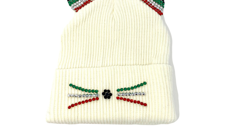 Festive Bedazzled Kitty Beanie