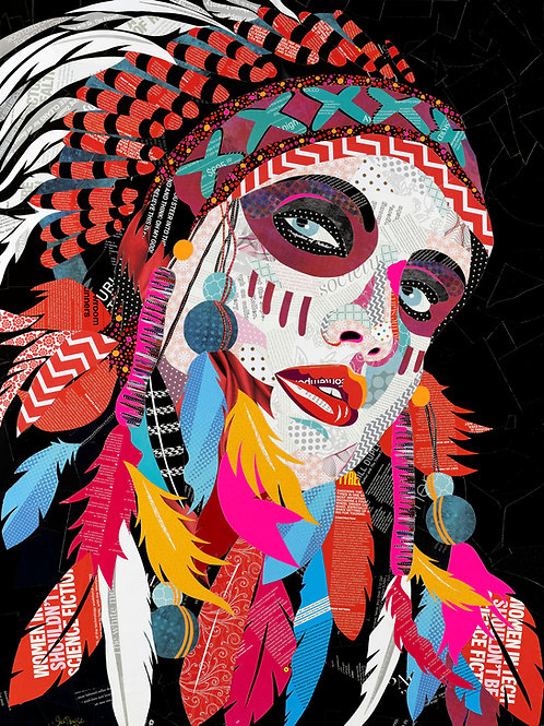 American Indian Beauty - Original Collage (76w x 101h x 2.5d cm)