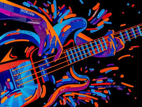 Electric Bass Guitar - Original Collage (101w x 76h x 2.5d cm)