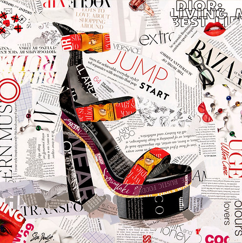 Versace Medusa Platform Shoe - Original Collage (41w x 41h x 2d cms)