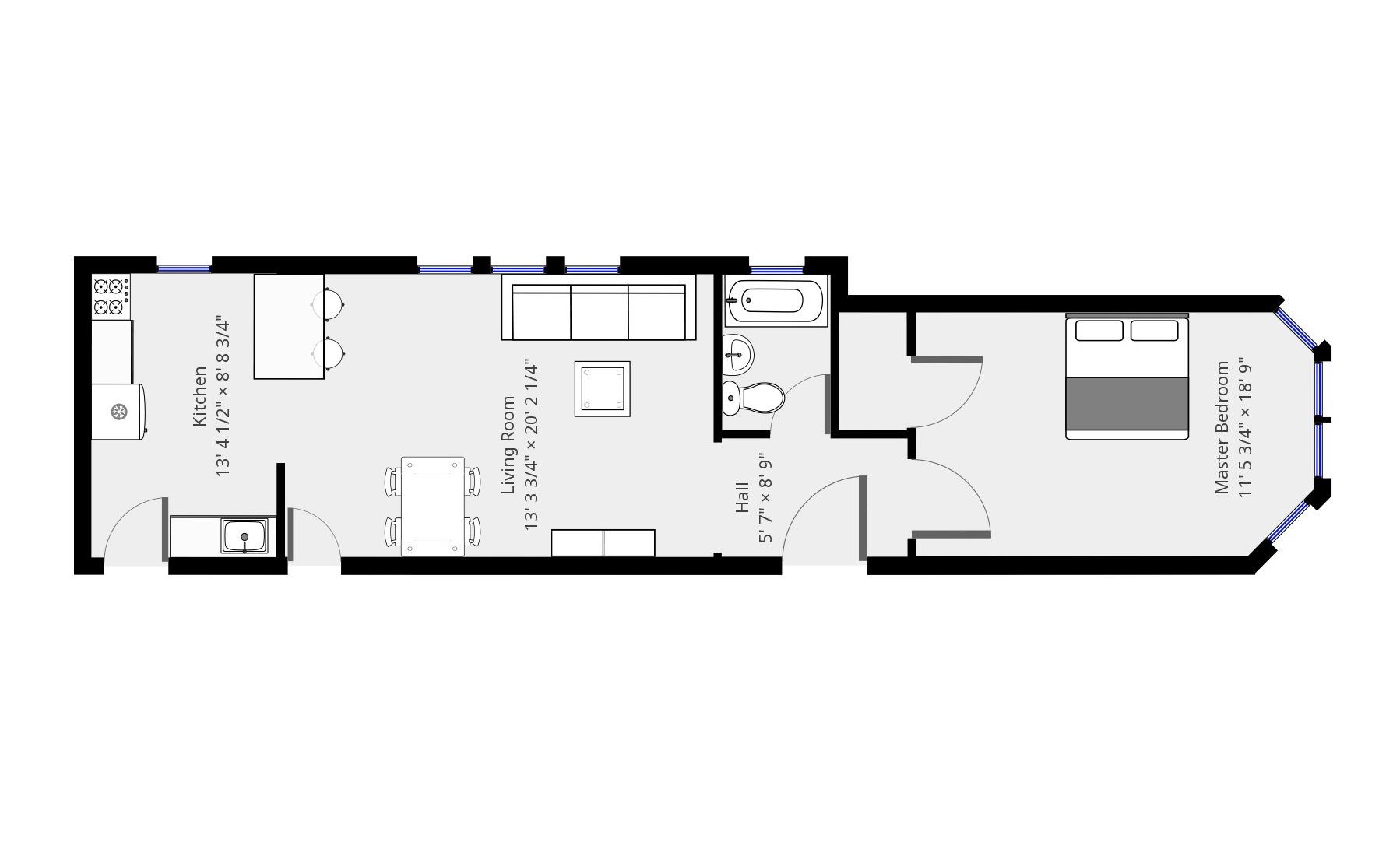 790sf 1BR floor plan