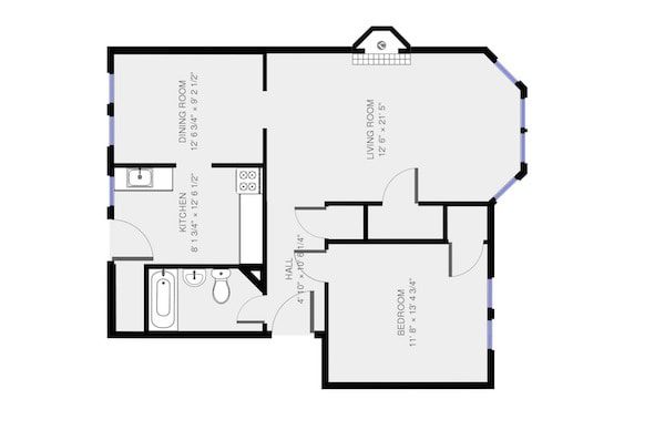 780sf Floor plan with seperate Dining Room