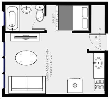 Floor plan of Studio apartment in Austin Chicago