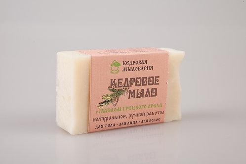 Мыло кедровое ручной работы для тела, лица и  волос с маслом грецкого ореха