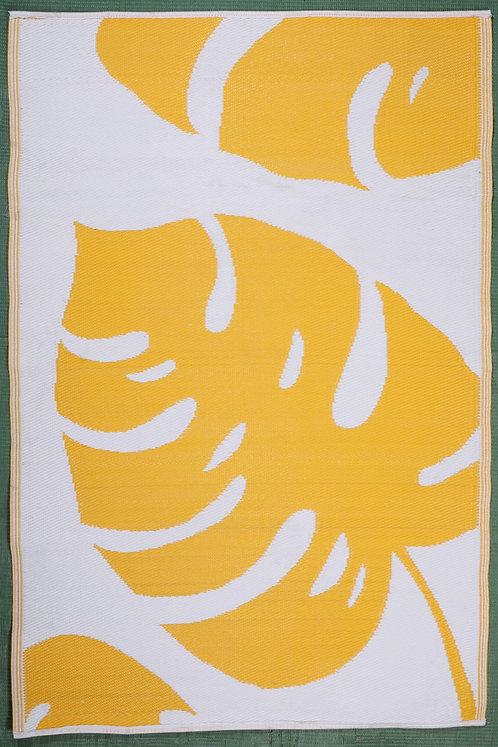 Banana Leaves Yellow & White  Area Rug