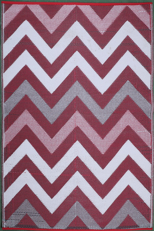 Wave Pinkish Dark red White  Area Rug