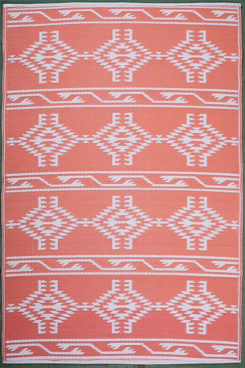 Turkish Design Dark Peach + White  Area Rug