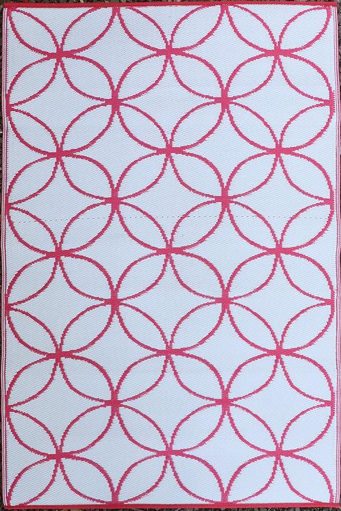 Circle In CircleDark Pink & White  Area Rug