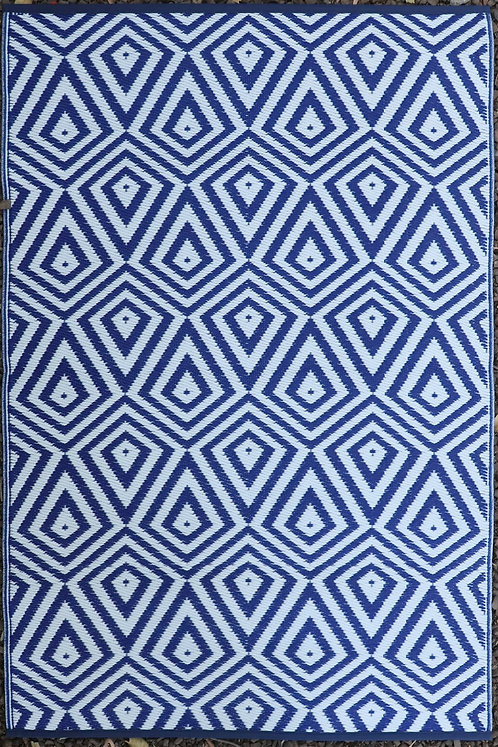 Triangles  Dark Blue & White Area Rug