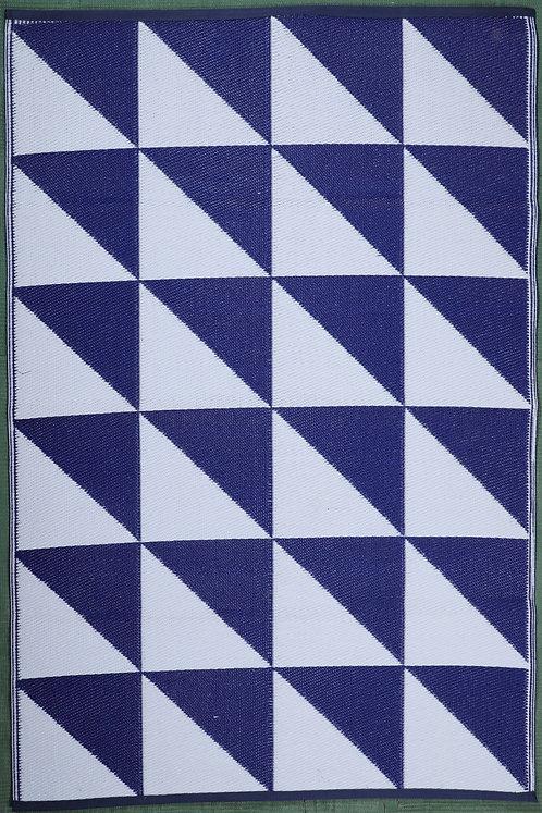 Symmetry Blue White Area Rug