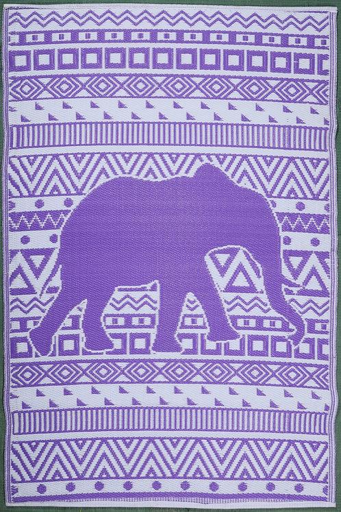 Happy Elephant Purple White  Area Rug