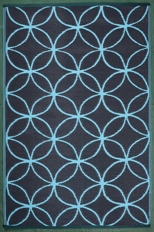 Circle In Circle Sky Blue & Dark Brown Area Rug