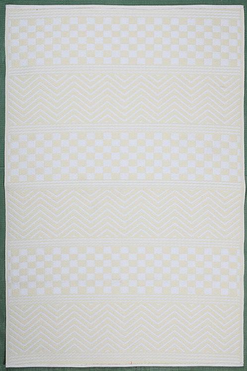 Waves & Squares Cream+ White  Area Rug