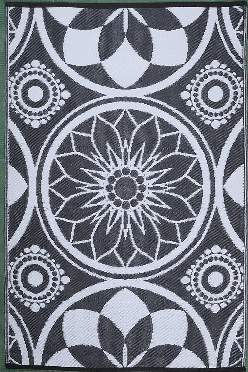 Persian Flower Grey White Area Rug
