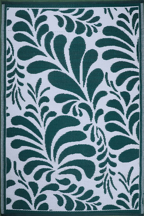 Flowers Green & White  Area Rug