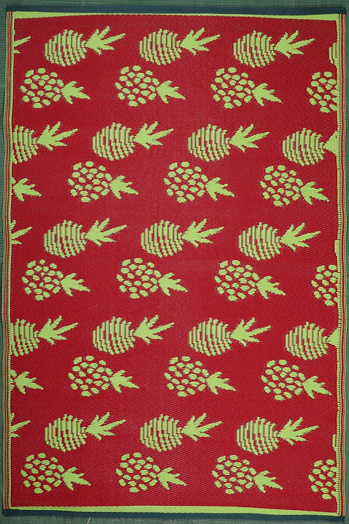 Grapes Pinapple Parrot Green & Red Area Rug