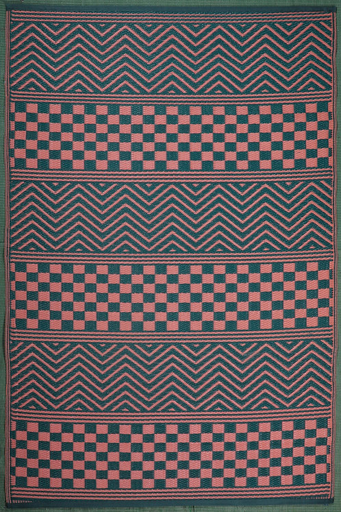 Waves & Squares Red & Green  Area Rug
