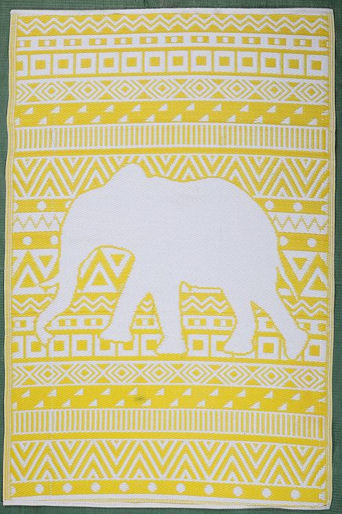 Happy Elephant Yellow+White  Area Rug