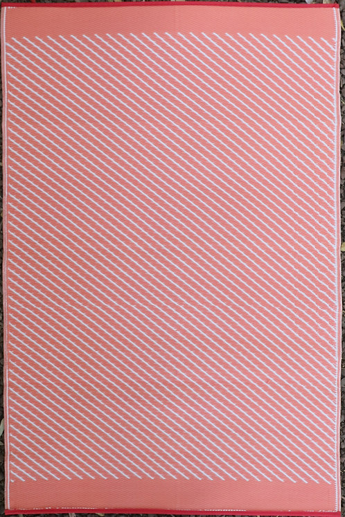 Diagonals Dark Pink & White  Area Rug