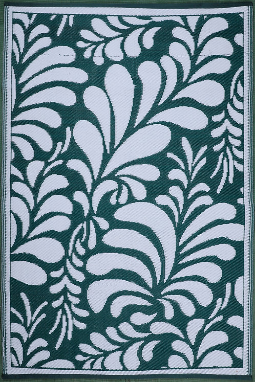 Flowers Green White  Area Rug