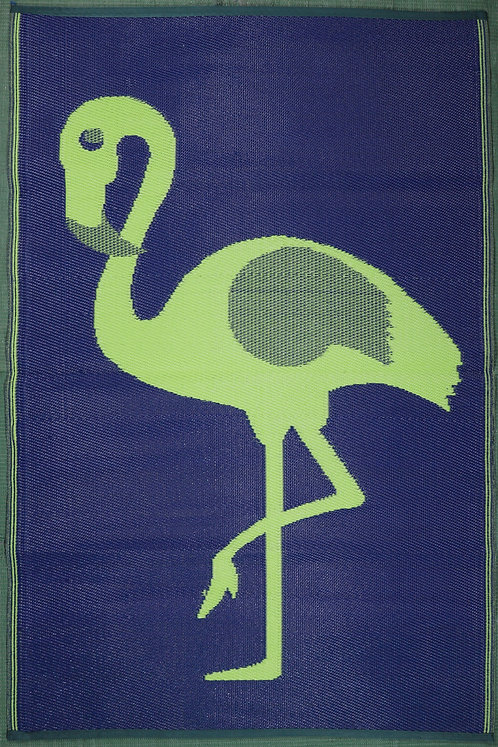 Ostrich Parrot Green & Dark Blue  Area Rug
