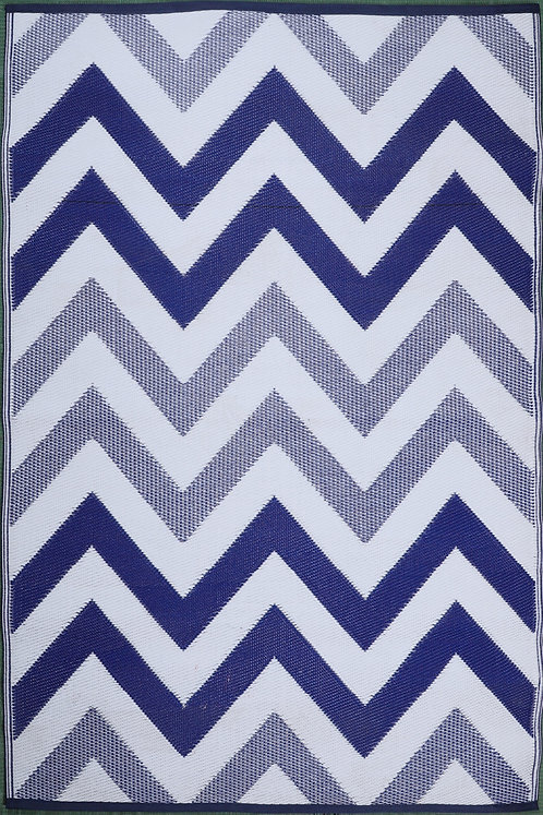 Wave Blue White Area Rug
