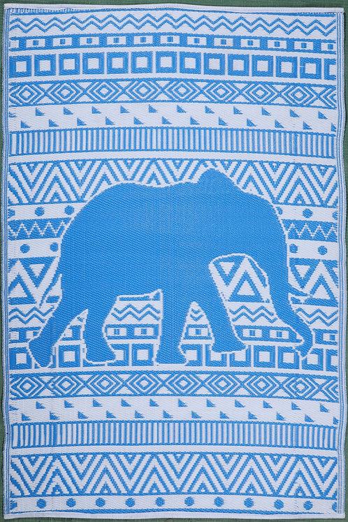 Happy Elephant Blue+White  Area Rug