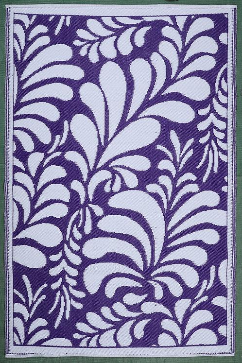 Flowers Purple & White  Area Rug