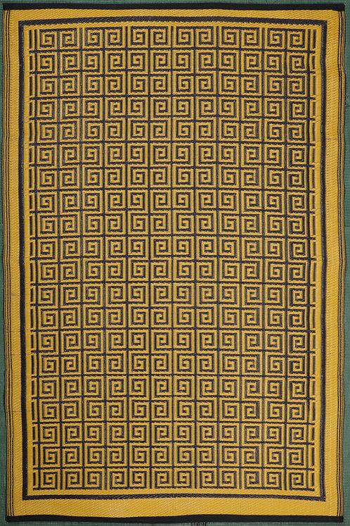 Swastik  Brown Yellow Area Rug