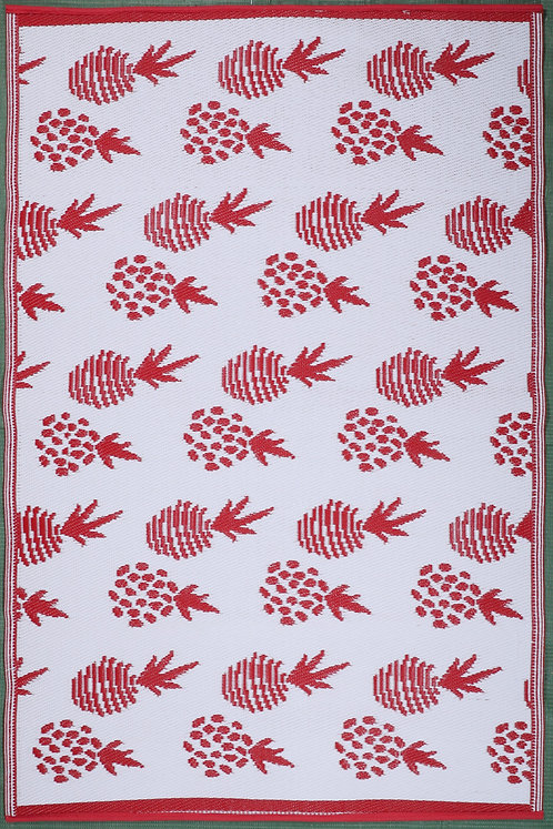 Pinapple Grapes Red+White Area Rug