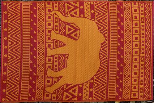 Happy Elephant Orange & Red Area Rug