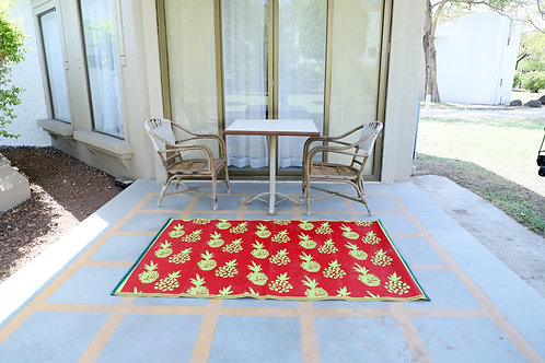 Pinapple Grapes Red Parrot Green Area Rug