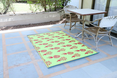 Pinapple Grapes Parrot Green Red Area Rug