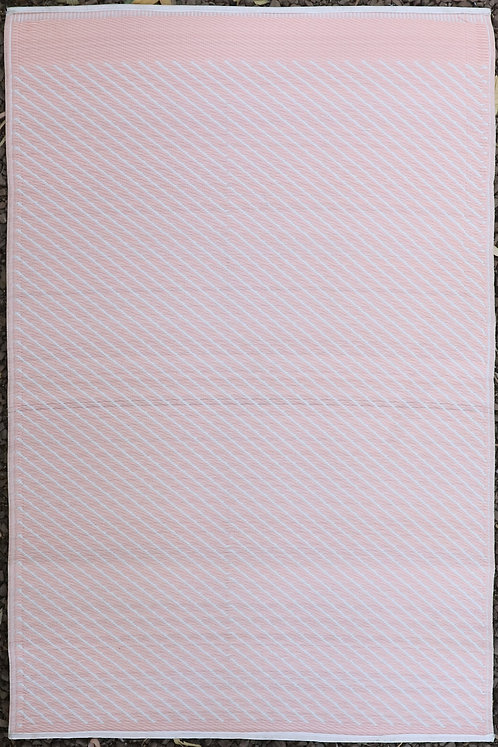 Diagonals Peach & White Area Rug