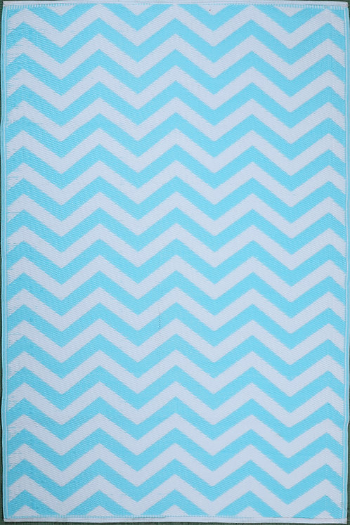 Small Waves Sky Blue White Area Rug