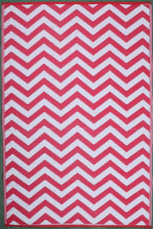 Small Wave MB Pink+ White Area Rug