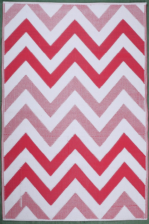 Wave Red & White Area Rug