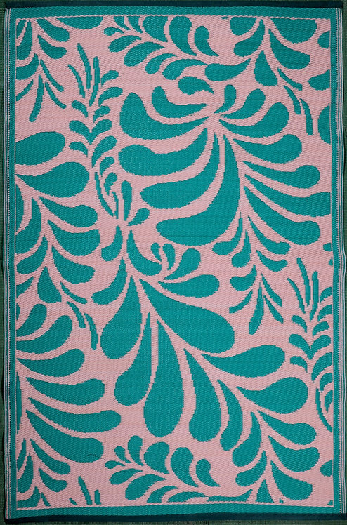 Flowers Pink & Green  Area Rug