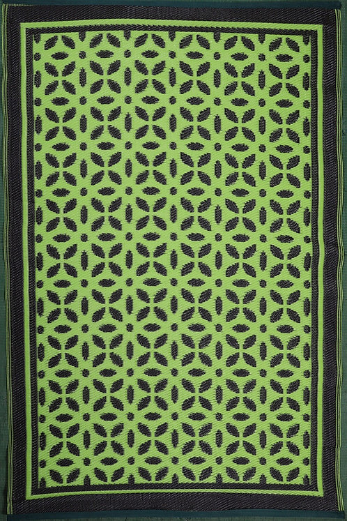 Flowers Parrot Green+Brown Area Rug